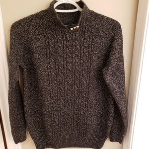 Marled Sweater with faux-Pearl button deta…